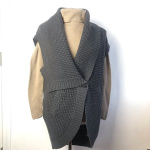 Theory Gray Knit Thick Sleeveless Vest Cardigan